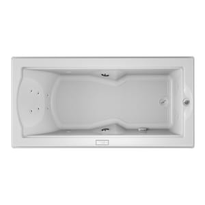 Jacuzzi Fuzion® 70-3/4 x 35-1/2 in. 14-Jet Acrylic Rectangle Drop-In or Undermount Whirlpool Bathtub with Right Drain and J4 Luxury Control JFUZ7236WRL4IW