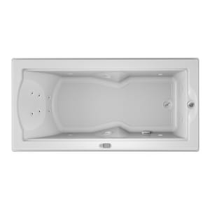 Jacuzzi Fuzion® 70-3/4 x 35-1/2 in. 14-Jet Acrylic Rectangle Drop-In or Undermount Whirlpool Bathtub with Right Drain and J5 LCD Control JFUZ7236WRL5CH