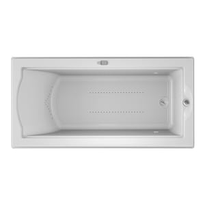 Jacuzzi Fuzion® 70-3/4 x 35-1/2 in. Acrylic Rectangle Drop-In or Undermount Air Bathtub with Right Drain and J5 LCD Control JFUZ7236ARL5CX