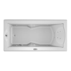 Jacuzzi Fuzion® 70-3/4 x 35-1/2 in. 14-Jet Acrylic Rectangle Drop-In or Undermount Whirlpool Bathtub with Left Drain and J5 LCD Control JFUZ7236WLR5CW