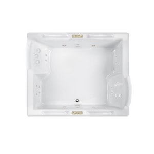 Jacuzzi Fuzion® 71-3/4 x 59-3/4 in. 23-Jet Acrylic Rectangle Drop-In or Undermount Whirlpool Bathtub with Center Drain and J4 Luxury Control JFUZ7260WCD4CW