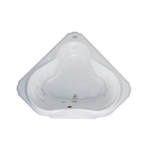 Jacuzzi Bellavista™ 59-3/4 x 59-3/4 in. 10-Jet Acrylic Corner Drop-In Whirlpool Bathtub with Center Drain and J5 LCD Control JBEL6060WCR5CW