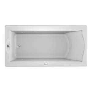Jacuzzi Fuzion® 70-3/4 x 35-1/2 in. Acrylic Rectangle Drop-In or Undermount Bathtub with End Drain and J2 Basic Control JFUZ7236BUX2CX