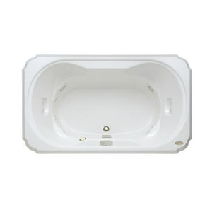 Jacuzzi Bellavista™ 66 x 42 in. 10-Jet Acrylic Rectangle Drop-In Whirlpool Bathtub with Center Drain and J5 LCD Control JBEL6642WCR5CH