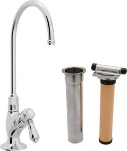 Rohl Perrin & Rowe® Country Kitchen 1-Hole Deckmount Kitchen Column Spout Filter Faucet with Single Lever Handle and 4-11/16 in. Spout Reach RAKIT1635LM2