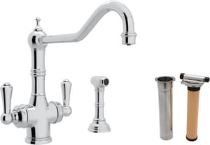 Rohl Perrin & Rowe® 1-Hole Deckmount Kitchen Faucet with Double Lever Handle and 9 in. Spout Reach RUKIT1571LS2