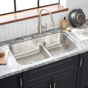 Mirabelle® Bridgehurst 34 x 21 in.Double Bowl Under-Mount Recessed Bridge Sink MIRURB3421