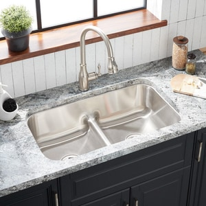 Mirabelle® Bridgehurst® 32 x 18-1/2 in. Double Bowl Under-Mount Recessed Bridge Stainless Steel Sink MIRURB3219