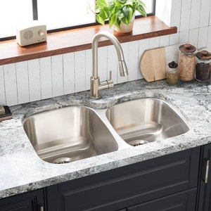 Mirabelle® 31-3/8 x 20-3/8 in. Double Bowl Left Hand Under-Mount Sink MIRUC3221L