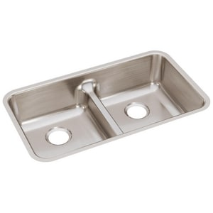 Elkay Gourmet Lustertone® 32-1/6 x 18-1/2 in. Equal Double Bowl Under-Mount Sink EELUHAQD3218