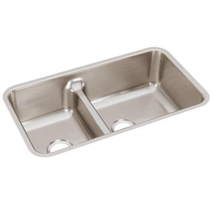 Elkay Gourmet Lustertone® 33x18-1/2 in. Double Bowl Under-Mount Sink EELUHAQD32179