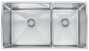 Franke Consumer Products Professional Offset Double Bowl Under-Mount Kitchen Sink FPSX120309