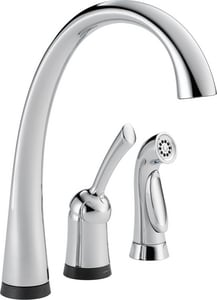 Delta Faucet Pilar® 1.8 gpm Single Lever Handle Deckmount Kitchen Sink Faucet 180 Degree Swivel Spout 3/8 in. OD Connection D4380TDST