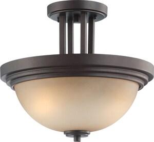 Nuvo Lighting Harmony 12 x 13-3/4 n. 60 W 2-Light Medium Semi-Flush Mount Ceiling Fixture in Dark Chocolate Bronze N604127