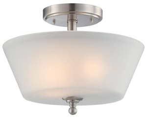 Nuvo Lighting Surrey 60W 2-Light Medium E-26 Incandescent Semi-Flush Ceiling Light with Auburn Beige Glass N604151