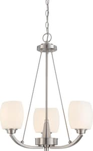 Nuvo Lighting Helium 60W 3-Light Medium E-26 Incandescent Chandelier with White Satin Glass N604185