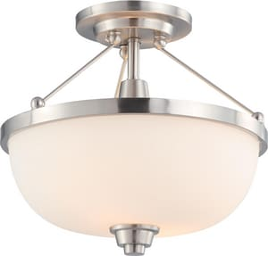 Nuvo Lighting Helium 60W 2-Light Medium Base Incandescent Semi-Flush Mount Ceiling Light N604188