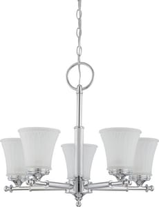 Nuvo Lighting Teller 60W 5-Light Medium Incandescent Chandelier with Frosted Etched Glass in Polished Chrome N604265