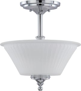 Nuvo Lighting Teller 60W 2-Light Medium Incandescent Semi-Flush Ceiling Light with Etched Glass N604268
