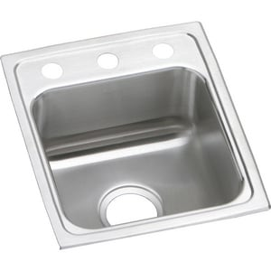 Elkay Gourmet® 3-Hole 1-Bowl Topmount Bar Sink with Center Drain ELRAD1517503