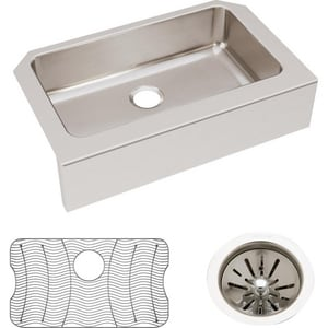 Elkay Gourmet Lustertone® 1-Hole 1-Bowl Stainless Steel Undermount Kitchen Sink with Apron EELUHFS2816DBG