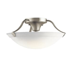 Kichler Lighting 7-3/4 x 15 in. 100 W 3-Light Medium Semi-Flush Mount Ceiling Fixture in Brushed Nickel KK3627NI