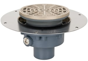 Sioux Chief Halo Drain™ Round Adjustable Floor Drain with Ductile Iron No-Hub Deck Flange in Nickel Bronze S8222DNR