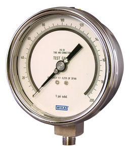 Wika 4 in. Stainless Steel Bourbon Tube Pressure Gauge W4220