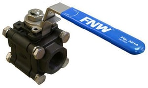 FNW 150 psi Socket Weld x Threaded 3-Piece Ball Valve with Locking Lever Handle FNW321ASW