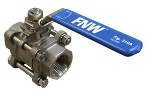 FNW 1000 psi NPT 3-Piece Ball Valve with Locking Lever Handle FNW310A