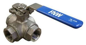 FNW 1000 CWP 2-Piece 3-Way Stainless Steel Threaded Reduced Port Ball Valve FNW233A