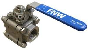 FNW 3-Piece Threaded Stainless Steel Full Port Ball Valve with Locking Lever Handle FNW320A
