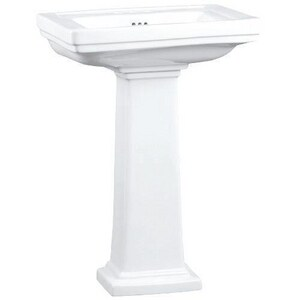 Mirabelle® Key West 3-Hole Pedestal Lavatory Sink with 4 in. Centerset MIRKW344A