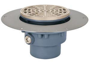 Sioux Chief Halo Drain™ Ductile Iron No-Hub Ring & Strainer Round in Nickel Bronze S8223DNR