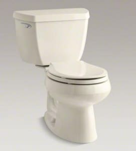 Kohler Wellworth® 28-1/4 x 27-1/2 in. 1.28 gpf Round Front Toilet with Flush Technology and Left Hand Trip Lever Handle K3577