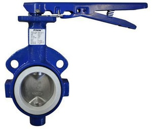 FNW 150 psi Cast Iron TFE Wafer Butterfly Valve Gear Operator FNW761TG