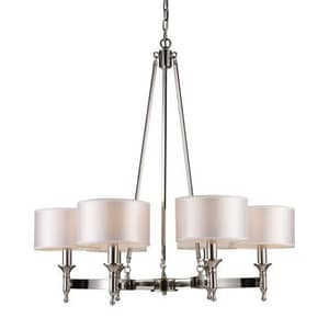 Elk Lighting Pembroke 60 W 6-Light Candelabra Chandelier in Polished Nickel E101236