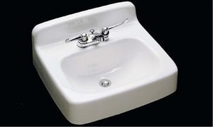 Commercial Enameling Lavatory Sink with 4 in. Centerset Faucet COM55320