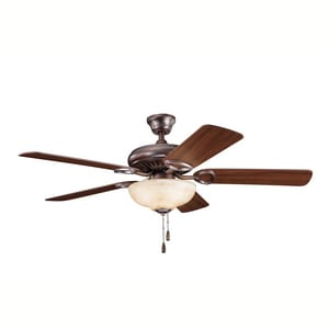 Kichler Lighting Sutter Place™ 59W 5-Blade Ceiling Fan with 52 in. Blade Span and 3-Light KK339211