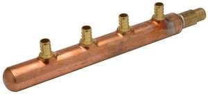Qest 3/4 x 1/2 in. PEX Barbed Closing Copper Manifold with 4-1/2 in. Outlet QQCM434GX