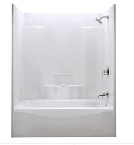 Aker Plastics 60 x 36 in. Tub and Shower with Left Hand Drain in White A141227000002001