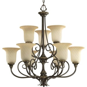 Progress Lighting Kensington 155 in. 100 W 9-Light Medium Chandelier in Forged Bronze PP428877