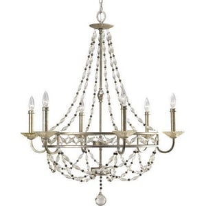 Progress Lighting Chanelle 162 in. 60 W 6-Light Candelabra Chandelier in Antique Silver PP444334