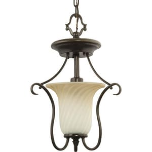 Progress Lighting Kensington 13 in. 100W 1-Light Flushmount Light in Forged Bronze PP367877