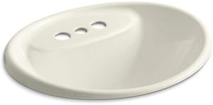 Kohler Tides 174 20 X 17 In Drop In Bathroom Sink With 4 In Centerset Faucet Holes Biscuit 2839