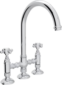 Rohl Italian Country Kitchen 4-Hole Bridge C-Spout Kitchen Faucet with Double Cross Handle and Side Spray RA1461XMWS2