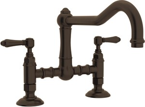 Rohl Italian Country Kitchen 2-Hole Bridge Kitchen Faucet with Double Metal Lever Handle RA1459LM2