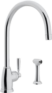 Rohl Perrin & Rowe® 1.8 gpm 1-Hole Single Lever Handle C-Spout Kitchen Faucet with Side Spray RU4846LSA2