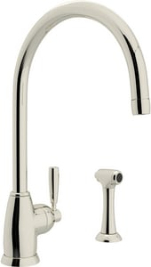 Rohl Perrin & Rowe® 1.8 gpm 2-Hole Column Spout Single Lever Handle Kitchen Faucet with Sidespray RU4846LS2
