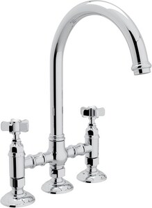 Rohl Italian Country Kitchen 4-Hole Bridge Kitchen Faucet with Five Spoke Handle RA1461X2